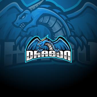 Modello di logo della mascotte del drago esport