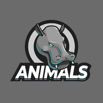 Modello di logo della mascotte dell'ippopotamo