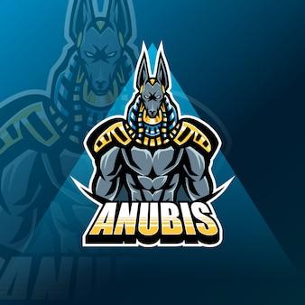 Modello di logo della mascotte di anubis esport