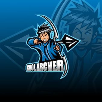 Modello di logo della mascotte di archer esport