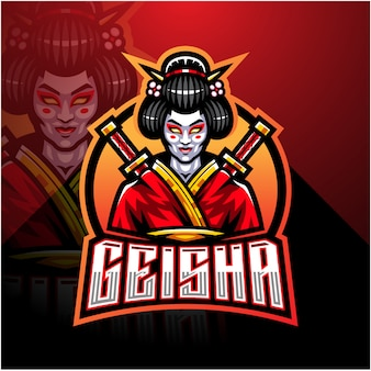 Modello di logo della mascotte di geisha esport