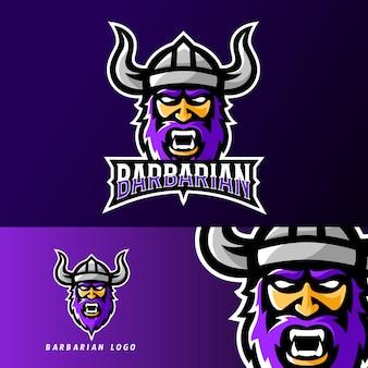 Modello di logo della mascotte di gioco barbaro sport vichingo o esport