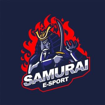 Modello di logo della mascotte di gioco di e-sport del cavaliere samurai