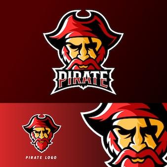 Modello di logo della mascotte di gioco sport o esport pirata