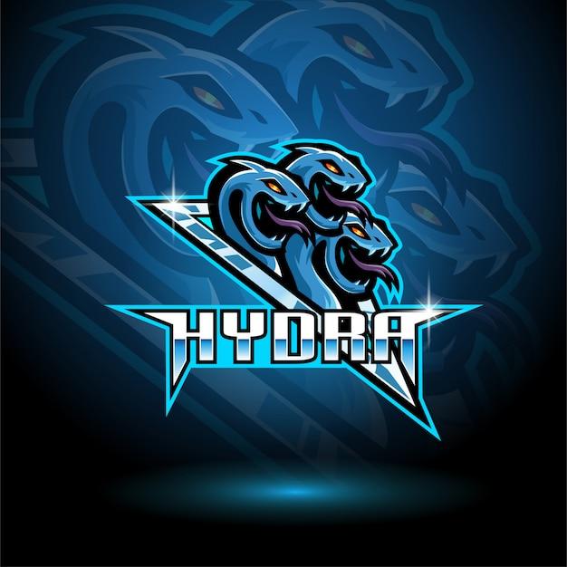 Modello di logo della mascotte di hydra esport