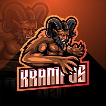 Modello di logo della mascotte di krampus esport