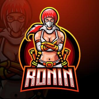 Modello di logo della mascotte di ronin esport