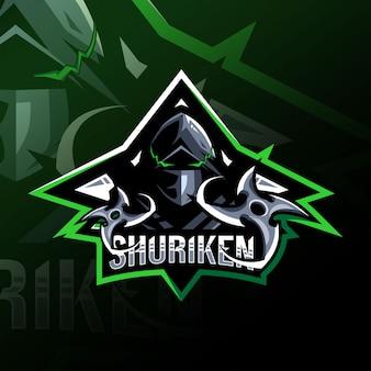 Modello di logo della mascotte di shuriken