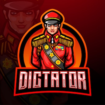 Modello di logo della mascotte esport dittatore