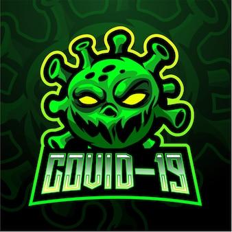 Modello di logo della mascotte esport virus corona