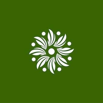 Modello di logo della natura, foglia, ornamento, icona