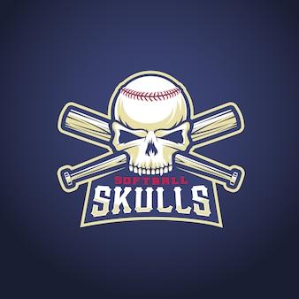 Modello di logo della squadra di baseball. cranio e pipistrelli incrociati segno. concetto di testa di softball. emblema sportivo con tipografia premium.