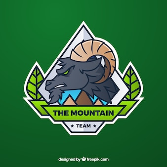 Modello di logo della squadra di e-sport con capra