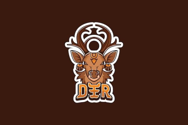 Modello di logo della squadra di e-sport con cervi