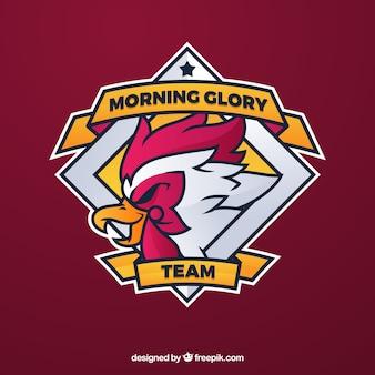 Modello di logo della squadra di e-sport con gallo