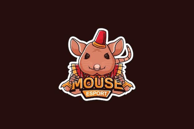 Modello di logo della squadra di e-sport con il mouse