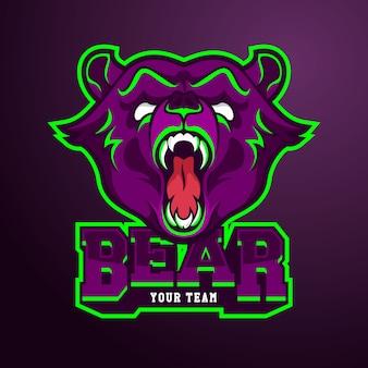 Modello di logo della squadra di e-sport con l'orso