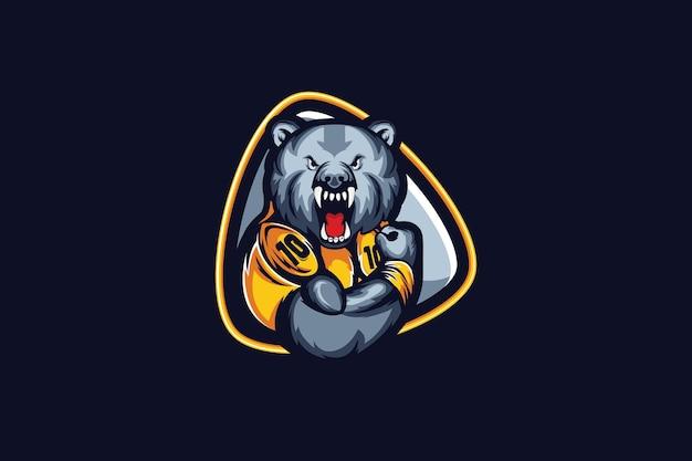 Modello di logo della squadra di e-sport con orso