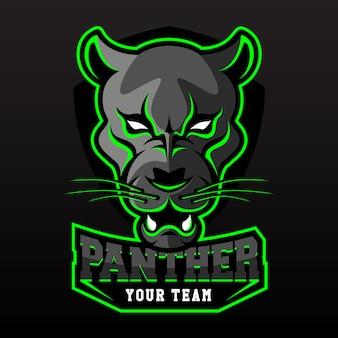 Modello di logo della squadra di e-sport con pantera nera