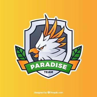 Modello di logo della squadra di e-sport con pappagallo