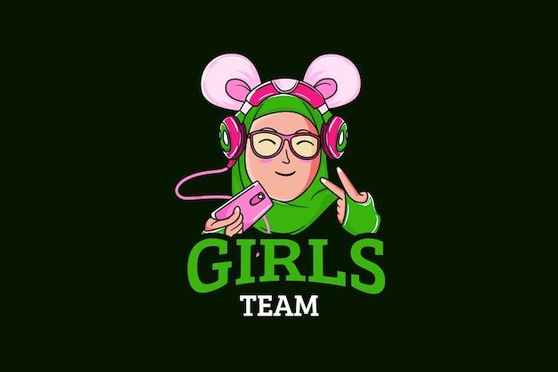 Modello di logo della squadra di e-sport con ragazza