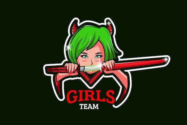 Modello di logo della squadra di e-sport con samurai