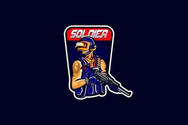 Modello di logo della squadra di e-sport con soldato