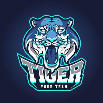 Modello di logo della squadra di e-sport con tigre