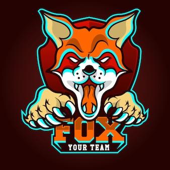 Modello di logo della squadra di e-sport con volpe