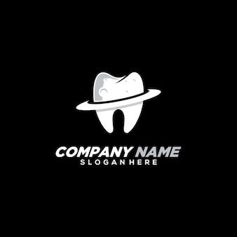 Modello di logo dentale pianeta moderno