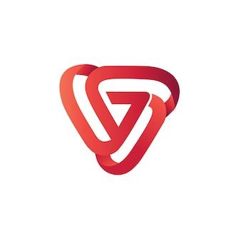 Modello di logo design astratto triangolo