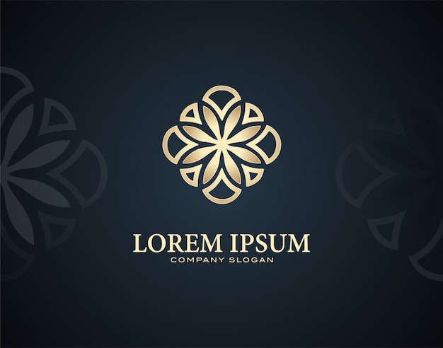Modello di logo design plumeria fiore moderno e di lusso con effetti di colore oro