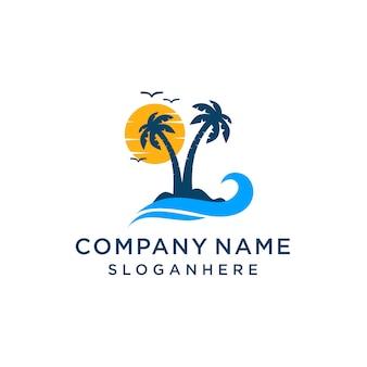 Modello di logo design tramonto