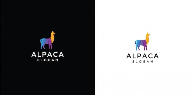 Modello di logo di alpaca