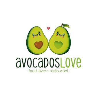 Modello di logo di amore di avocado