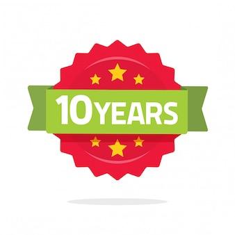 Modello di logo di anniversario di 10 anni con nastro verde e numero di coccarda