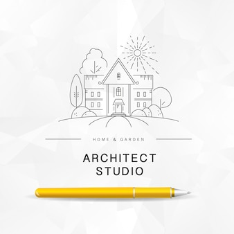 Modello di logo di architetto.