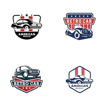 Modello di logo di auto d'epoca