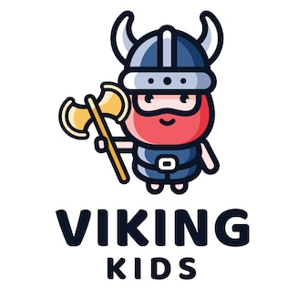 Modello di logo di bambini vichinghi