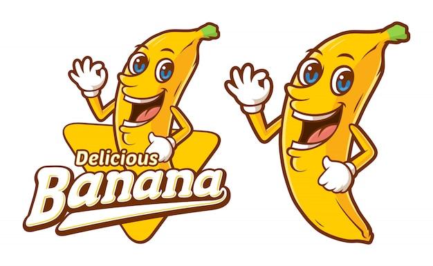 Modello di logo di banana deliziosa con personaggio dei cartoni animati divertente