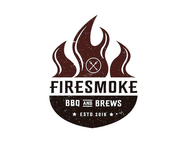 Modello di logo di barbecue e birre