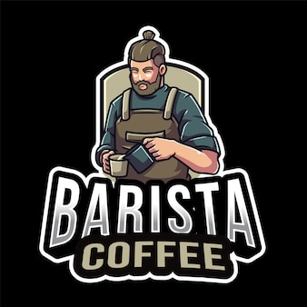 Modello di logo di barista caffè