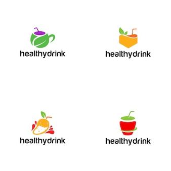 Modello di logo di bere sano fresco e colorato