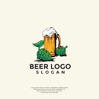 Modello di logo di birra vintage