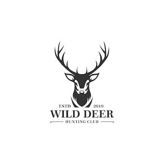 Modello di logo di caccia dei cervi