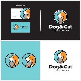 Modello di logo di cane e gatto