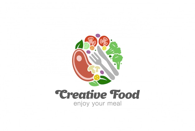 Modello di logo di carne e verdure