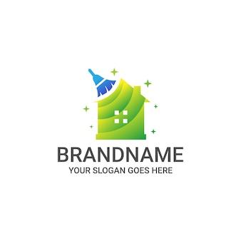 Modello di logo di casa pulita