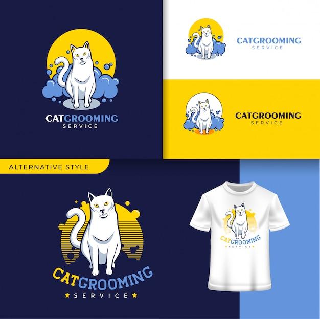 Modello di logo di cat grooming pet shop