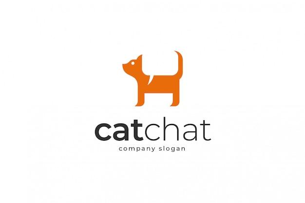 Modello di logo di chat di gatto